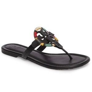 NWB Tory Burch Miller black/multi Sandals